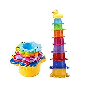OleOletOy Kinder Badewannenspielzeug Set – 8X Stapelbecher mit Einer Badeente | 2 in 1: Wasser/Sand Abfliessen, Becher Stapeln | Spielzeug für Baby – BPA Frei Badespielzeug Sandspielzeug