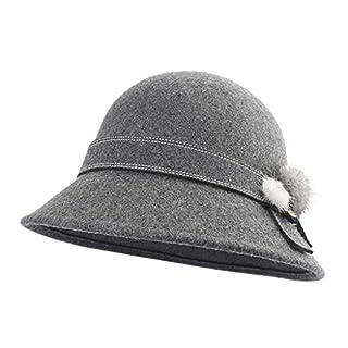 Amazplus Damen Fedora Mode Wolle Kuppel Mützen Mit Bogen Dekoration zum Herbst und Winter Warm bleiben Einstellbar Einstellbar Größe Dark Gray 57cm