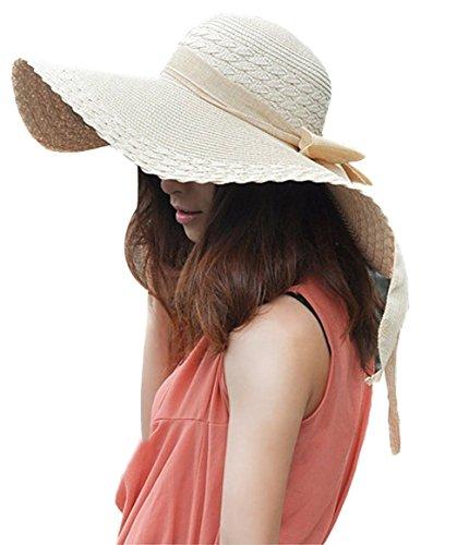 TININNA Fashion Femme Filles Wide Brim Floppy Chapeau Voyage Chapeau De Soleil Capeline Chapeau Paille à Bord Large Panama Boucle Beige