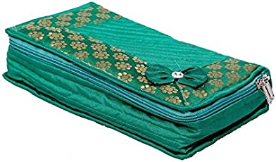 Kuber Industries Cotton Quilted Jewellery Box, Green