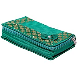 KUBER INDUSTRIES Green Bow Heavy Quilted Fabric Jewellery Organizer Box