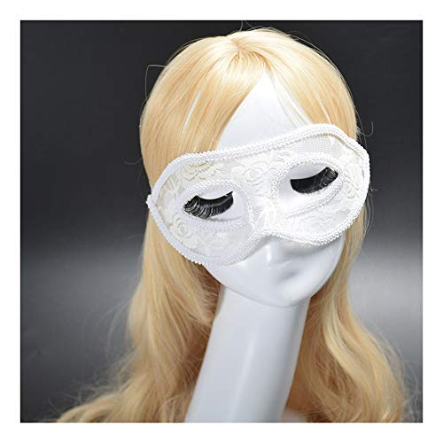 SCLMJ Damen Maske Masque Hollowed Lace Halbe Gesichtsmaske Für Halloween-Party, Weiß