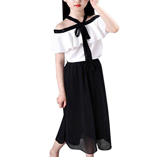 Eine Breite Von Sechs Tier (Chiffon Kleidung Set Kleinkind Kinder, DoraMe Baby Mädchen Verband Outfits V-Kragen Kurze ärmel T-shirt + Breite Bein Hosen für 3-7 Jahr (Weiß, 7 Jahr))