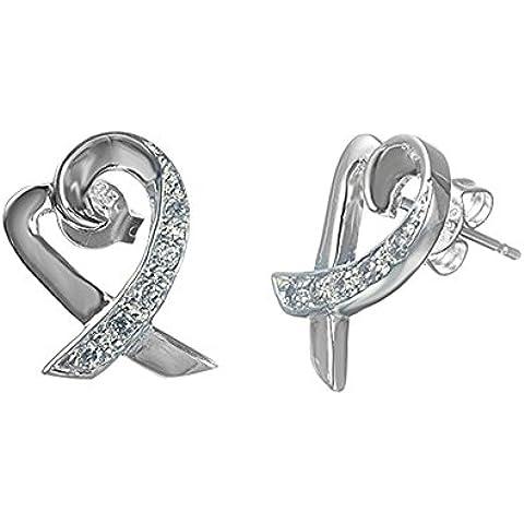 NYKKOLA placcati argento Sterling 925Cuore Nastro Orecchini con strass di cristallo per le donne regalo di natale