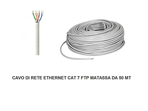 MATASSA 50 MT METRI CAVO DI RETE FTP CAT 7 LAN ETHERNET M BOBINA INTERNET ADSL PLUG MODEM ROUTER ACCESS POINT REAPETER CAT7