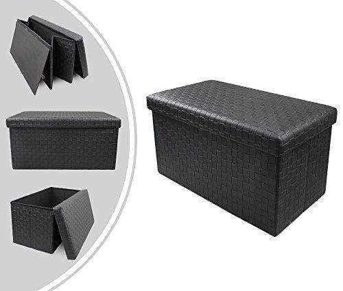 Leogreen - panca pieghevole in pelle, poggiapiedi, tessuto, 76 x 38 x 38 cm, nero, carico massimo: 150 kg