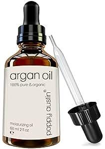 Reines Arganöl für Haut & Haare von Poppy Austin® - 100% Biologische, Kaltgepresst & Fair Gehandelt Marokkanisches Arganöl - Riesig 60 ml - das Natürlich Anti-Aging, Anti-Falten Schönheitsgeheimnis