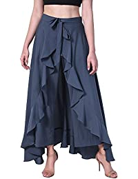 Poshak American Crepe Solid Women's Layered/Ruffle Palazzo with One Waist Tie Band and Side Zipper