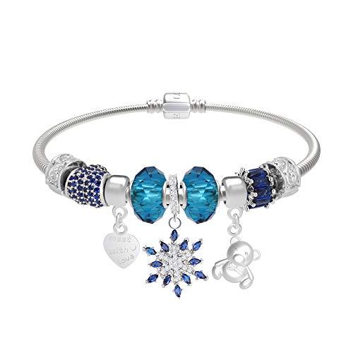Imagen de ct jewelry pulseras brillantes abalorios united flor hexagonal corazon oro blanco 14k moda charms mujer regalos, azul