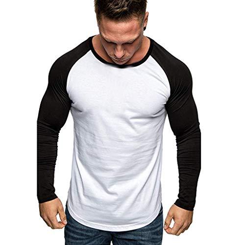 Yazidan Oversize Herren Longsleeve Basic 2in1 Sweatshirt Crew Neck Basic O-Ausschnitt Shirt (Hund Pullover Nike)