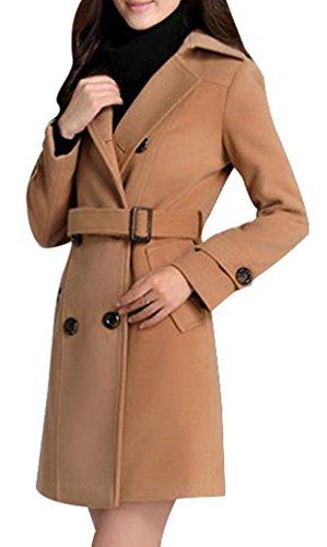 Yasong Damen Doppelreihiger Slim Fit Faux Wool Coat Trench Coat, Peacoat, U-Boot Coat Outerwear mit Gürtel Gr. 34, Braun - Braun