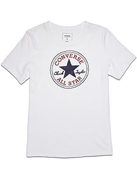 Converse Donna Solid Chuck Patch Tee Maglietta, Donna, Solid Chuck Patch Tee, bianco, M