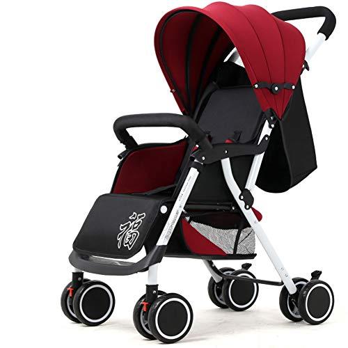 Cochecito de bebé,Plegable Ultraligero Trotar Silla de paseo Conveniente para el avión Rápida carrito de doblez rápido de 4 ruedas con el pabellón de nacimiento a 25 kg-D