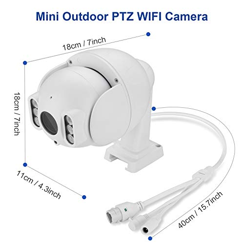Dericam Mini 1080P Outdoor WiFi-Überwachungskamera, 4X Optische PTZ-Kamera, Autofokus, 30m Nachtsicht, 90° Betrachtungswinkel, Externer SD-Kartensteckplatz, Wetterfest IP65, S2C
