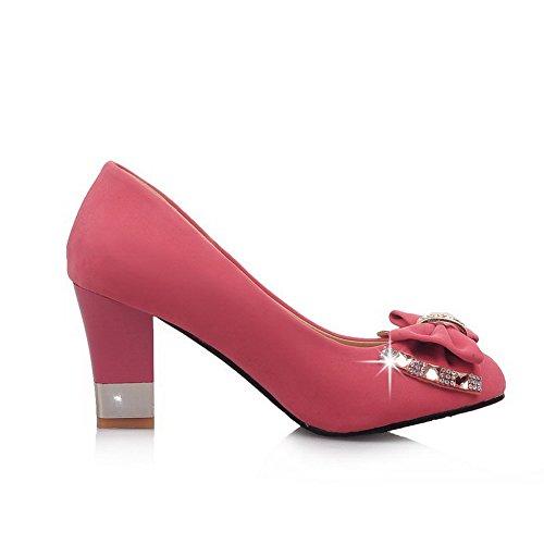 AgooLar Femme Suédé Couleur Unie Tire Rond à Talon Haut Chaussures Légeres Rose