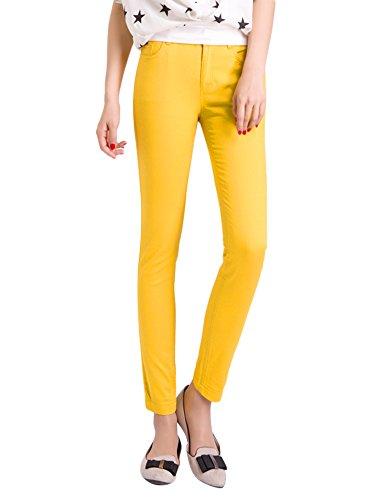 Pantalon Vaquero amarillo Pitillos Elevar Curva Jeans elástico