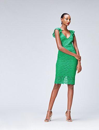 FIND Damen Bleistift-Kleid aus Spitze Grün (Green)