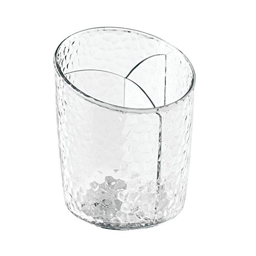 InterDesign Rain Cosmetic Organizer Cup for Vanity Cabinet to Hold Makeup Brushes, Beauty Products - Clear