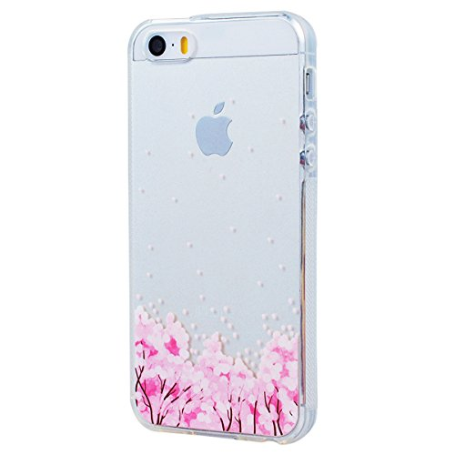 Yokata iPhone SE / iPhone 5 / iPhone 5s Transparent Weich Silikon Gel Crystal Clear TPU Case Handyhülle Schutzhülle Schale Etui Durchsichtig Ultra Slim Backcover Silicone Bumper Protective Cover mit P Kirsche Baum rosa