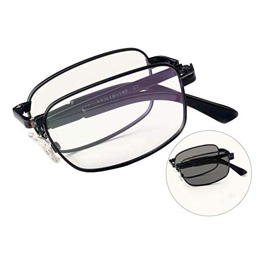 Ultraleichte faltbare Titanium-Lesebrille, progressive multifokale Anti-UV-Sonnenbrille mit Federscharnier,Black,+1.5
