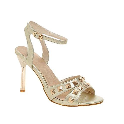 Mee Shoes Damen modern reizvoll populär Schnalle ankle strap Slingback Trichterabsatz Peep toe mit Metall-Dekoration Sandalen Gold