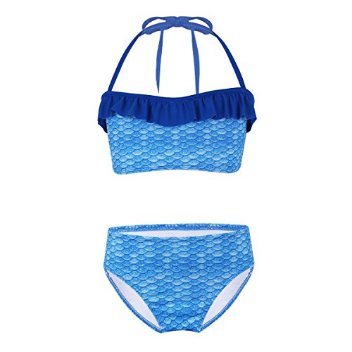 iiniim Mädchen Zweiteiler Bikini Tops+Badehose Badeanzug Meerjungfrau Skala Druck Schwimmanzug Bademode Set Gr.116-176 Blau 176/16Jahre