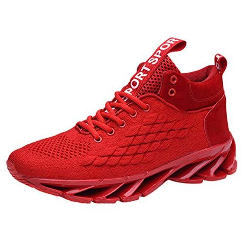 High Top Sportschuhe Herren Mesh Schnürschuhe Atmungsaktiv Sneaker Bequem rutschfeste Laufschuhe Bequeme Turnschuhe, Rot, 43 EU