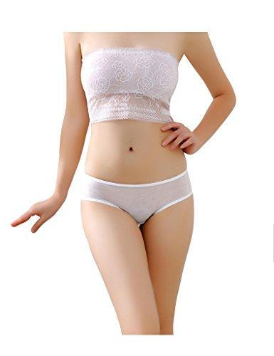 Legou Damen Spitze Lace Atmungsaktiv Unterwäsche mit Bogen Weiß