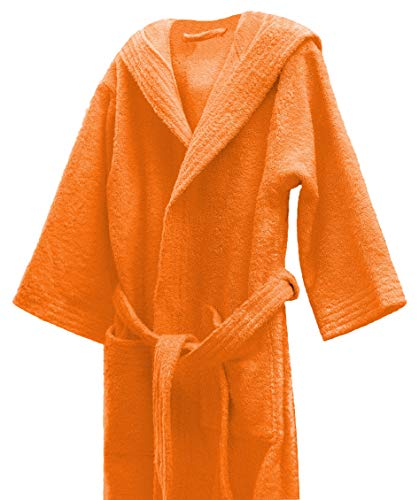 Lasa Albornoz Infantil, algodón 100%, Naranja, Talla 12