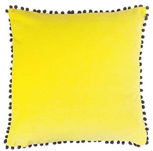 rempli clair Pom Pom doux Jaune Marron 100% coton velours OREILLER COUSSIN 18 \
