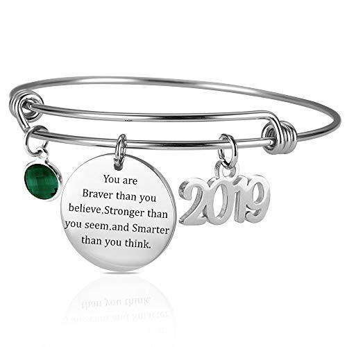 iger Armband Birthstone Armband inspirierende Armreif für Frauen Edelstahl verstellbare Armreif ()