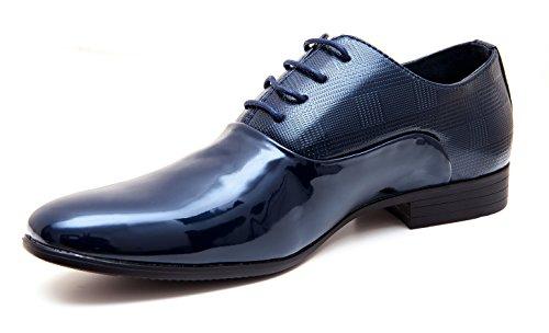 Scarpe uomo class blu scuro vernice linea classica eleganti cerimonia (40)