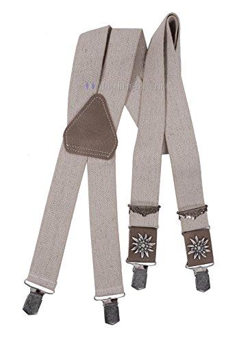 Trachtenhosenträger Herren - Hosenträger Trachten für Lederhose mit Edelweiß - Beige