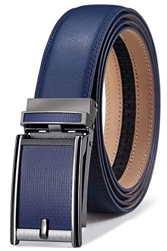 BULLIANT Cinturón de piel con trinquete para hombre Bulliance, para vestido de 1 3/8, ajuste a la medida Azul 025-azul1189 XX-Large