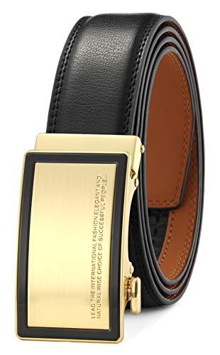 GFG-Cintura da Uomo in Pelle con Fibbia Automatica Sistema a Scorrimento Larghezza-3,5cm-0026-125-NERO