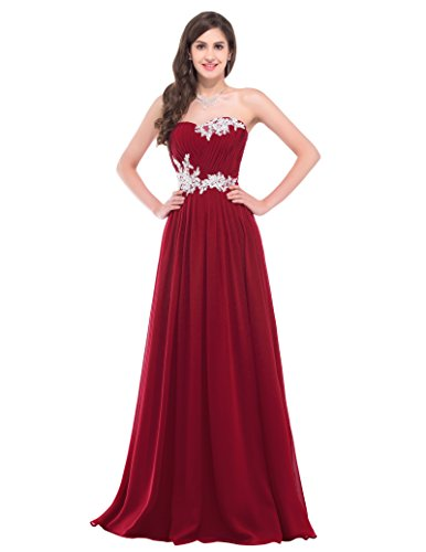 Fashion chiffon kleid ärmellos prom dress homecoming kleid partykleid cocktailkleid weinrot Größe 42 CL6107-4 (Satin Kleider Homecoming)