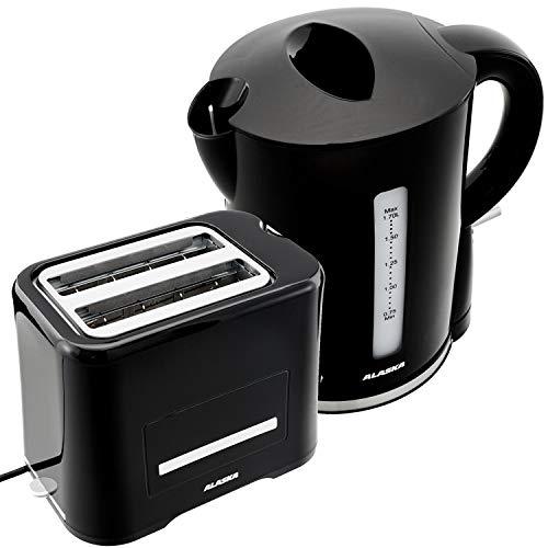 Alaska Frühstücksset 2209 | Schwarz | 2 in 1 | Wasserkocher + Toaster | 1,7 L | 2 Scheiben | Brötchen-Röstaufsatz | Auftau-, Aufback- & Unterbrechungsfunktion | Abschaltautomatik | Kabellose Benutzung