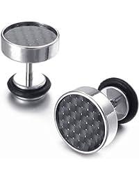 Pendientes - TOOGOO(R)Pendientes de joyeria de hombres y mujeres, embutido de fibra de carbono, 10 mm, de acero inoxidable plateado
