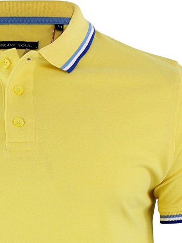 Herren Polo T Shirt Brave Soul Warschau Trinkgeld Baumwolle Pique Kragen Casual Top Gelb - Gelb
