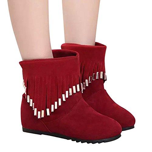 Stiefel Damen Boots Frauen Stiefel Flache Freizeitschuhe Niedrige Slip-On Quaste Stiefeletten Freizeitschuhe Martin Stiefel Winterstiefel ABsoar