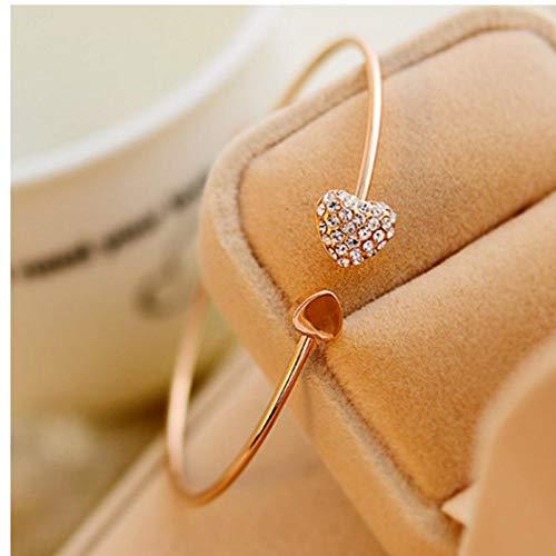 Gamloious Heart-Shaped Pfirsich herzförmigen Armband mit vergoldeten herzförmige Diamant-Armbänder