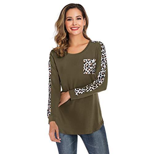 TEFIIR T-Shirt für Frauen, Mitgliedertag Sommer-Räumungsabwicklung,günstige Preisaktion Frauen Casual Leopardenmuster Hemd Pocket Splice Langarm Bluse Lose Tops Freizeit, Urlaub und Dating -