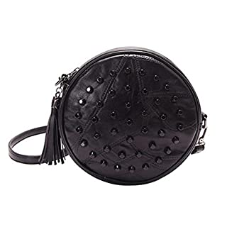 BESTOYARD Umhängetasche rund aus Leder mit Tragegurt Tasche für Frauen Geschenk für Braut (schwarz)