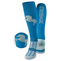 WackySox Stressage Diva Blue and Silver Equestrian Riding Socks