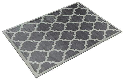 Paco Home Designer Teppich Marokkanisches Muster Kurzflorteppich Modern Trend Grau Weiß, Grösse:240x340 cm