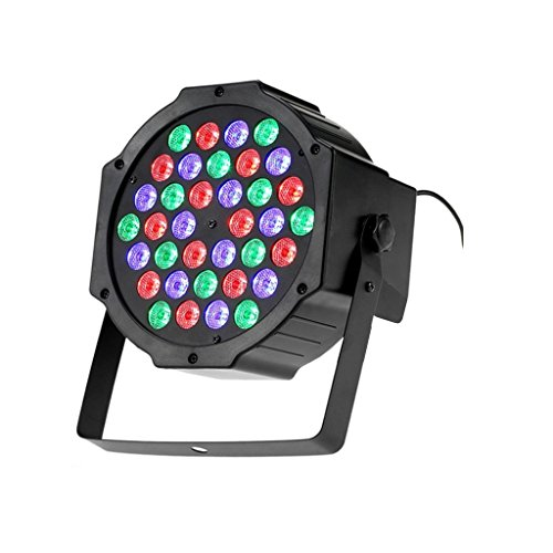 Foco RGB de 36 W con 36 luces LED de varios colores, ideal para discoteca, sensor sonoro, luz multicolor