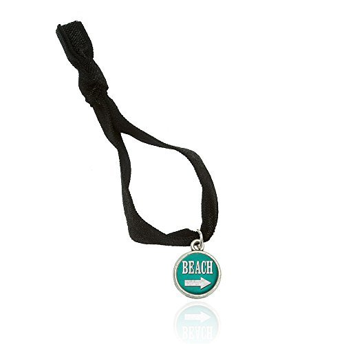 Beach Sign Vintage Bracelet Double Fold Over Stretchy Elastic No Crease Hair Tie With Charm