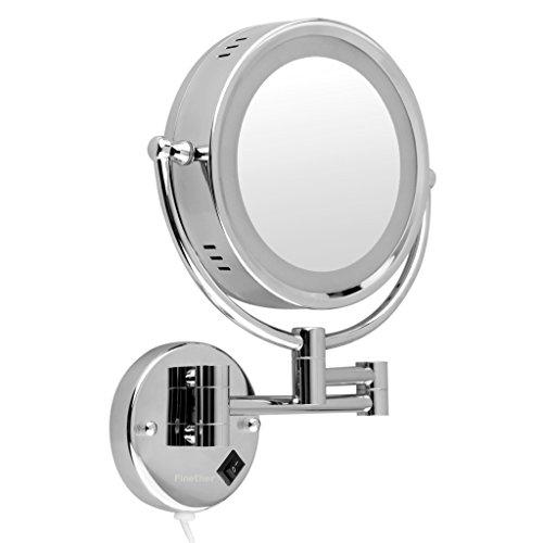 Finether beleuchteter Kosmetikspiegel Schminkspiegel Rasierspiegel mit Wandhalterung und LED Beleuchtung Vergrößerungsspiegel Make-up Spiegel mit Licht beleuchtet für Bad Wandmontage 360°drehbar doppelseitig 7-fach Vergrößerung + normal