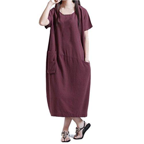 ANFASHION Frauen Kurzarm Baumwolle Leinen Lose Tasche Lange Bohe Casual Kaftan Kleid (Billig Gatsby Kleider)