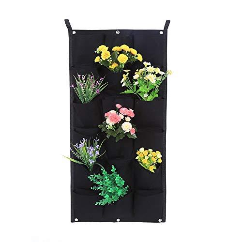 ten für den Garten 7/12/16/18 Wandtaschen zum Pflanzen / Beutel für Erde / Wandkörbchen aus Filz, Hängekorb für Innen und Außen, Schwarz 18-Pocket ()